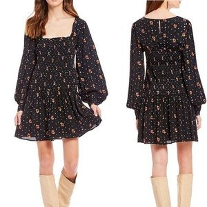 Free People Two Faces Floral Print Mini Dress NWT